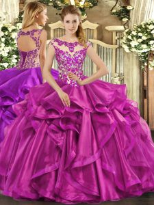 Sexy Fuchsia Sleeveless Beading and Appliques and Ruffles Floor Length Quinceanera Gown