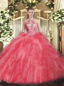 Coral Red Sweet 16 Dress Military Ball and Sweet 16 and Quinceanera with Beading and Ruffles Halter Top Sleeveless Lace Up
