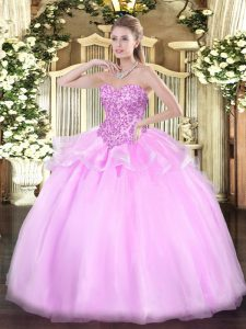 Ball Gowns Quinceanera Dresses Lilac Sweetheart Organza Sleeveless Floor Length Lace Up
