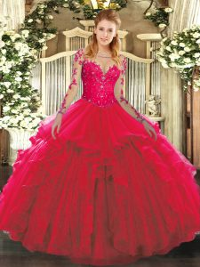 Extravagant Long Sleeves Tulle Floor Length Lace Up Quinceanera Dresses in Red with Lace and Ruffles