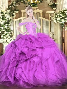 Ideal Lilac Sleeveless Floor Length Beading and Ruffles Lace Up Quinceanera Dress