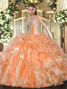 Luxurious Floor Length Orange Ball Gown Prom Dress Organza Sleeveless Beading and Ruffles