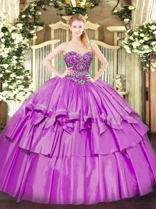 Sleeveless Floor Length Beading and Ruffled Layers Lace Up Sweet 16 Quinceanera Dress with Lilac