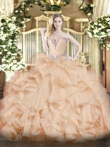 Traditional Peach Ball Gowns Sweetheart Sleeveless Organza Floor Length Lace Up Beading and Ruffles Quinceanera Gown