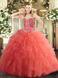 Watermelon Red Sweetheart Lace Up Beading and Ruffles Quinceanera Dress Sleeveless