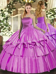 Low Price Strapless Sleeveless Quinceanera Gown Floor Length Ruffled Layers Lilac Organza