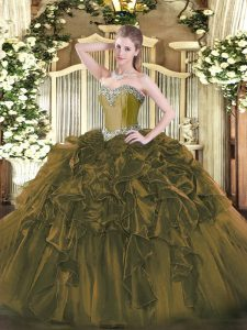 Luxury Organza Sweetheart Sleeveless Lace Up Beading and Ruffles 15th Birthday Dress in Olive Green