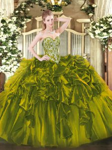 Beautiful Olive Green Ball Gowns Beading and Ruffles Quinceanera Dresses Lace Up Organza Sleeveless Floor Length