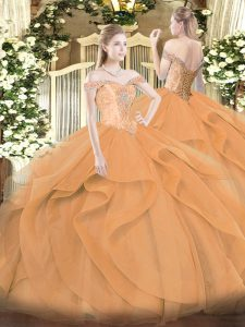 Exceptional Orange Ball Gowns Tulle Off The Shoulder Sleeveless Beading and Ruffles Floor Length Lace Up Sweet 16 Dresses