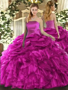 Superior Ball Gowns Quinceanera Gowns Fuchsia Strapless Organza Sleeveless Floor Length Lace Up