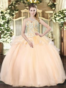 Sleeveless Organza Floor Length Lace Up Quinceanera Dresses in Champagne with Beading