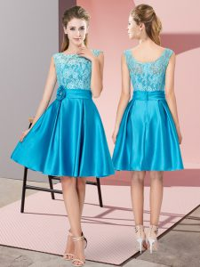 Satin Bateau Sleeveless Zipper Lace and Hand Made Flower Prom Dress in Blue