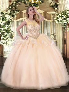 Beautiful Scoop Sleeveless Zipper Quinceanera Gown Peach Organza