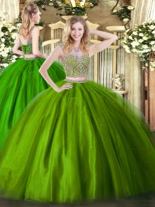 Olive Green Lace Up Scoop Beading Quince Ball Gowns Tulle Sleeveless