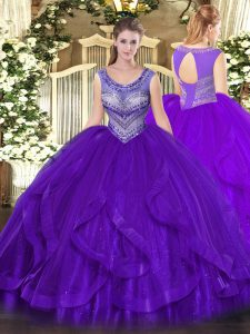 Organza Sleeveless Floor Length Quinceanera Dresses and Beading and Ruffles