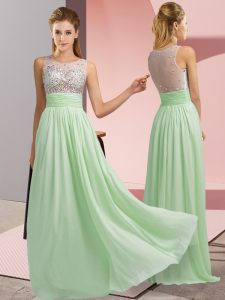 Vintage Chiffon Sleeveless Floor Length Prom Dresses and Beading