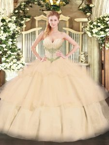 Gorgeous Ball Gowns Quinceanera Dress Champagne Sweetheart Tulle Sleeveless Floor Length Lace Up