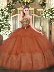 High Class Floor Length Lace Up Sweet 16 Dresses Rust Red for Military Ball and Sweet 16 and Quinceanera with Beading and Ruffled Layers