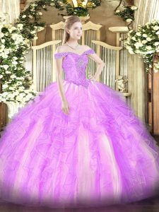 Noble Lilac Tulle Lace Up Off The Shoulder Sleeveless Floor Length Quince Ball Gowns Beading and Ruffles