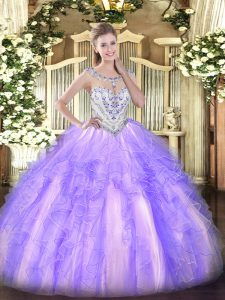 Sleeveless Tulle Floor Length Zipper 15 Quinceanera Dress in Lavender with Beading and Ruffles