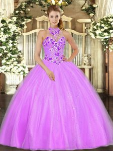 Flirting Lilac Halter Top Neckline Embroidery Quinceanera Dresses Sleeveless Lace Up