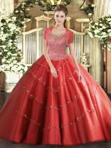 Sleeveless Tulle Floor Length Clasp Handle Quinceanera Gown in Coral Red with Beading