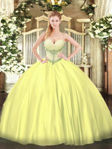 Discount Floor Length Ball Gowns Sleeveless Yellow Vestidos de Quinceanera Lace Up