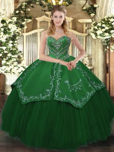 Custom Fit Sleeveless Floor Length Beading and Pattern Lace Up Ball Gown Prom Dress with Green