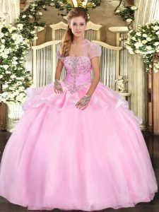 Lovely Sleeveless Appliques Lace Up Quinceanera Dress