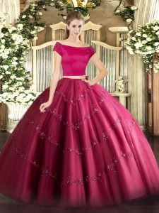 Hot Pink Short Sleeves Floor Length Appliques Zipper Quinceanera Gowns