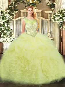 Decent Yellow Sleeveless Floor Length Beading and Ruffles Zipper Quinceanera Gown