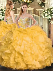 Gold Sweetheart Lace Up Beading and Ruffles Quinceanera Gowns Sleeveless