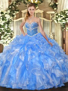 Baby Blue Sweetheart Lace Up Beading and Ruffles Sweet 16 Dresses Sleeveless