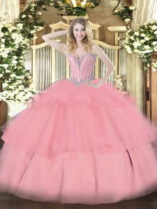 Elegant Ball Gowns Sweet 16 Quinceanera Dress Baby Pink Sweetheart Tulle Sleeveless Floor Length Lace Up