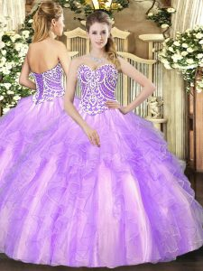 Lavender Ball Gowns Beading and Ruffles Vestidos de Quinceanera Lace Up Tulle Sleeveless Floor Length