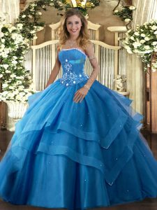 Strapless Sleeveless Lace Up Vestidos de Quinceanera Baby Blue Tulle