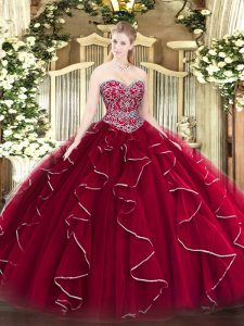 Wine Red Ball Gowns Tulle Sweetheart Sleeveless Beading and Ruffles Floor Length Lace Up Sweet 16 Dress