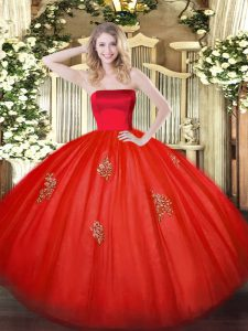 Appliques Party Dress for Toddlers Red Zipper Sleeveless Floor Length