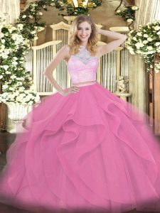 Cute Rose Pink Two Pieces Scoop Sleeveless Tulle Floor Length Zipper Lace and Ruffles Quinceanera Dresses