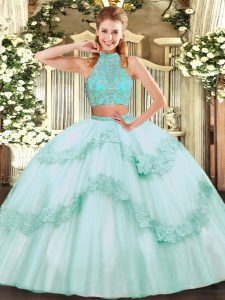 Apple Green Sleeveless Tulle Criss Cross Quinceanera Gowns for Military Ball and Sweet 16 and Quinceanera