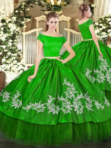 Short Sleeves Organza and Taffeta Floor Length Zipper 15 Quinceanera Dress in Green with Embroidery