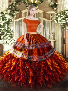 Sweet Floor Length Zipper Party Dresses Rust Red for Military Ball and Sweet 16 and Quinceanera with Ruffles