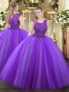 Traditional Eggplant Purple Ball Gowns Scoop Sleeveless Tulle Floor Length Zipper Beading Quinceanera Gown