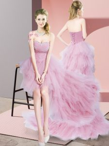 Baby Pink Lace Up Sweetheart Beading and Ruffled Layers Prom Gown Tulle Sleeveless