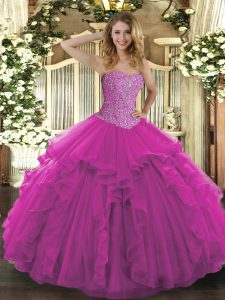Floor Length Lace Up Sweet 16 Dress Fuchsia for Military Ball and Sweet 16 and Quinceanera with Beading and Ruffles