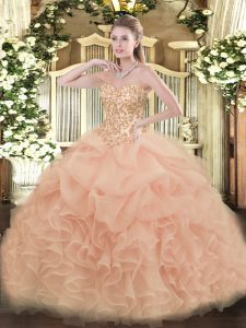 Floor Length Lace Up Quinceanera Gown Peach for Sweet 16 and Quinceanera with Appliques and Ruffles and Pick Ups