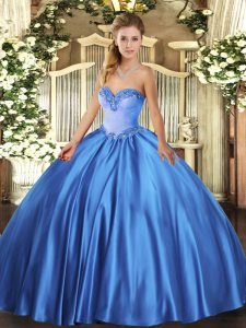 Glorious Beading Sweet 16 Quinceanera Dress Blue Lace Up Sleeveless Floor Length