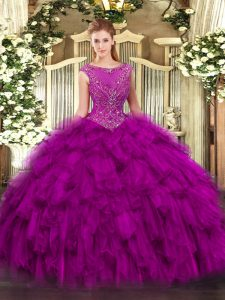 Luxury Scoop Sleeveless Organza Quinceanera Gowns Beading and Ruffles Zipper