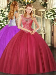 Glorious Coral Red Scoop Neckline Beading 15th Birthday Dress Sleeveless Lace Up