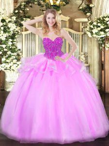 Cheap Floor Length Lace Up Sweet 16 Dresses Baby Pink for Military Ball and Sweet 16 and Quinceanera with Beading